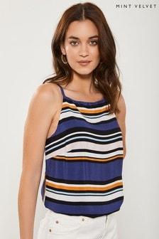 Mint Velvet Blue Multi Coloured Stripe Cami