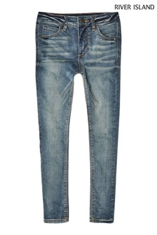 River Island Blue Dark Wash Ollie Pumba Clean Jeans