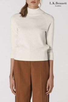 סוודר צמר של L.K.Bennett דגם Brett Merino בלבן