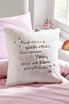 We Have Everything Embroidered Faux Fur Cushion