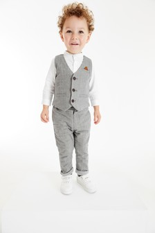 Waistcoat, Shirt And Trousers Set (3個月至7歲)