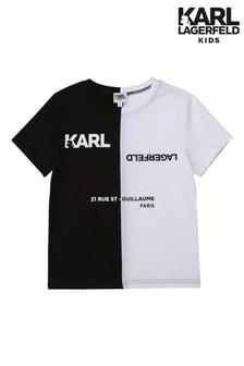 تي شيرت أسود وأبيض بشعارDistorted منKarl Lagerfeld