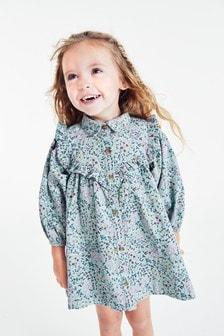 Rochie tip cămașă din catifea reiată cu imprimeu floral (3 luni - 7 ani)