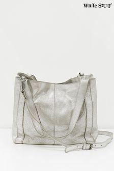 Кожаная сумка-тоут цвета металлик White StuffHannah