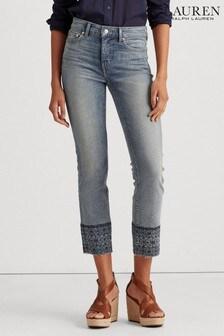 Укороченные прямые джинсы цвета индиго Lauren Ralph Lauren