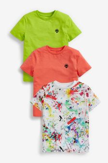 3 Pack Bright Splat Short Sleeve Jersey T-Shirts (3-16yrs)