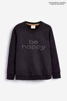 Bluză flaușată Turtledove London Be Happy neagră din bumbac organic