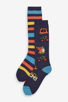 Набор носков с машинками под резиновые сапоги (2 пар) (Младшего возраста)
