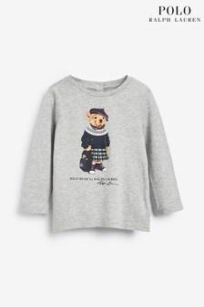 חולצת טי ארוכהבהדפס דוב של Ralph Laurenבאפור