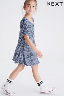 Kleid mit gezurrten Ärmeln (3-16yrs)