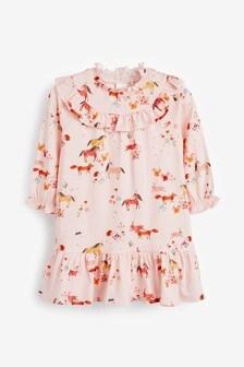 Платье с оборками и принтом лошадей (3 мес.-7 лет)
