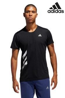 adidas Black Run It 3 Stripe T-Shirt