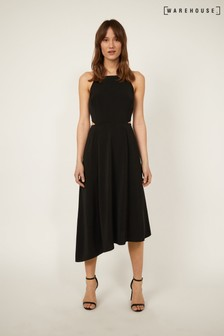 Warehouse Black Side Cut Out Midi Dress