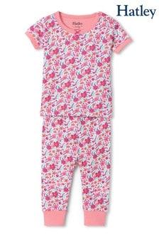 Розовая пижама из органического хлопка с принтом летнего сада и коротким рукавом Hatley