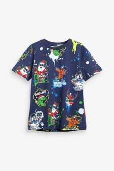 Short Sleeve All Over Print Christmas T-Shirt (3-16yrs)
