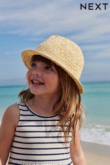 Chapeau mou en paille avec bordure (Enfant)