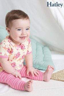 Розовая детская пижама из органического хлопка с нежным принтом и коротким рукавом Hatley