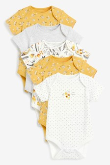 5 Pack Ochre Floral Short Sleeve Bodysuits (0mths-3yrs)