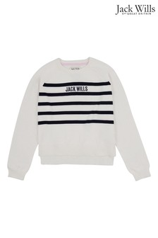 Jack Wills Girls White Stripe Drop Hem Knit Jumper