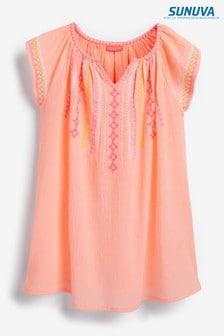 Sunuva Besticktes Kleid aus leichtem Baumwollstoff, Orange/Neon