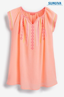 Sunuva Orange Neon Embroidered Cheesecloth Dress
