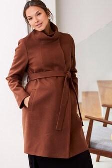 Пальто с запахом и поясом (для беременных)