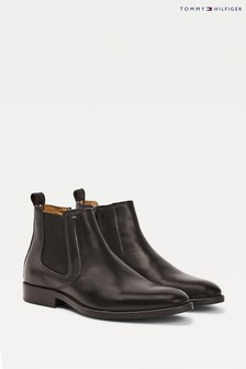 Tommy Hilfiger Black Essential Leather Chelsea Boots