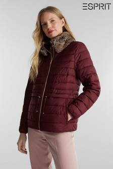 Esprit Red Short Thinsulate Outdoor Jacket With Detachable Faux Fur Collar