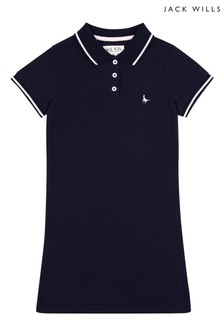 Jack Wills Girls Blue Pique Tipped Polo Dress