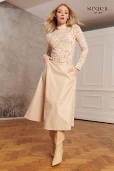 Sonder Studio Cream Belted PU Midi Skirt