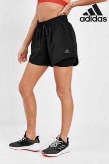 adidas zwarte geweven 2-in-1 short