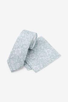 Шелковый галстук с цветочным рисунком и платок для нагрудного кармана (комплект)