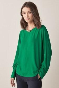 Pleat Back Long Sleeve Blouse (850939) | $25