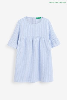 Benetton Gerüschtes Kleid, Blau