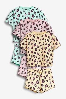3 Pack Animal Boxy Tee Short Pyjamas (3-16yrs)