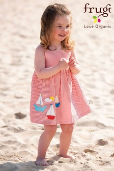 Frugi GOTS Organic Red Seersucker Lined Dress With Boat Appliqués