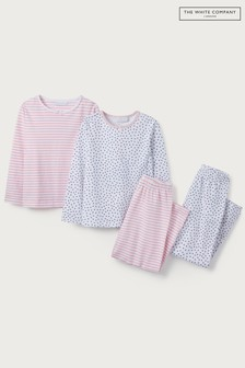 The White Company White/Pink Heart & Stripe Pyjamas Set 2 Pack
