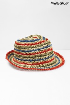 White Stuff藍色夏日兒童條紋帽