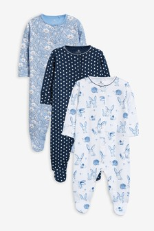 3 Pack Rabbit Sleepsuits (0mths-2yrs)