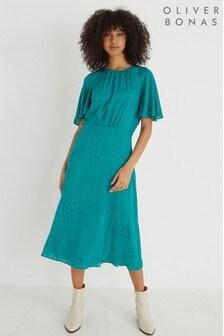 Oliver Bonas Teal Green Devoré Midi Dress