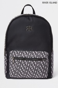 River Island Black Older Boys Jacquard Backpack