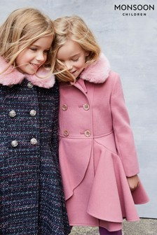 Monsoon Pink Twirl Ruffle Coat