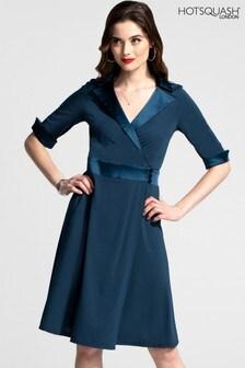 HotSquash Fit und Flare Wrap-Kleid mit seidigem Besatz