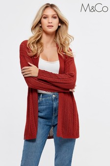 M&Co Orange Pointelle Long Cardigan