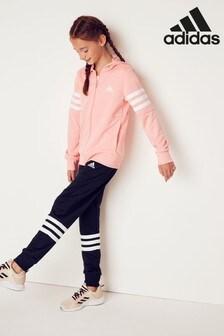 adidas Light Pink/Black Cotton Tracksuit