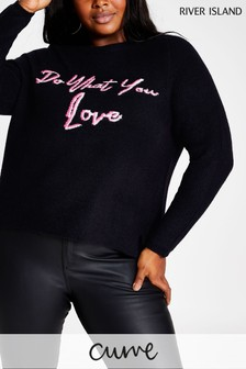 River Island Curve Navy Do What You Love Jumper