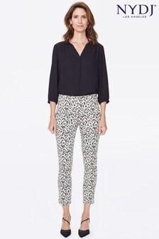 Pantaloni cu elastic slim fit până la gleznă cu imprimeu animal NYDJ