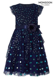 Monsoon Children Blue Stacie Metallic Spot Dress