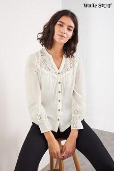חולצת ג'רזי רקומה של White Stuff בלבן
