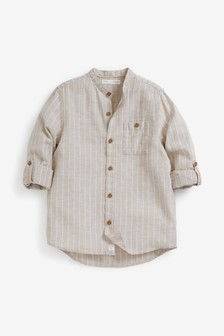 Stripe Grandad Collar Shirt (3-16yrs)